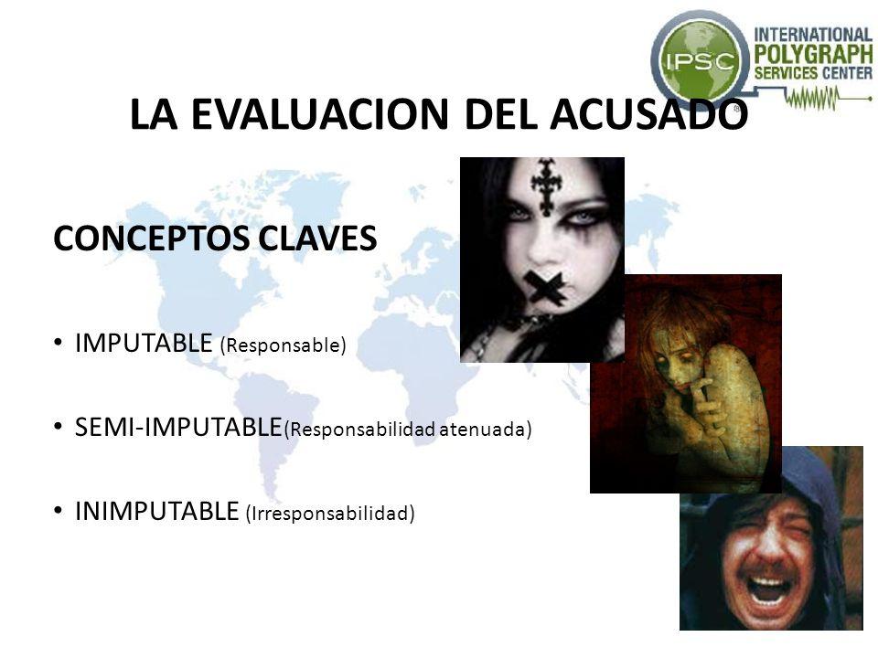 LA EVALUACION DEL ACUSADO CONCEPTOS CLAVES IMPUTABLE (Responsable) SEMI-IMPUTABLE (Responsabilidad atenuada) INIMPUTABLE (Irresponsabilidad)