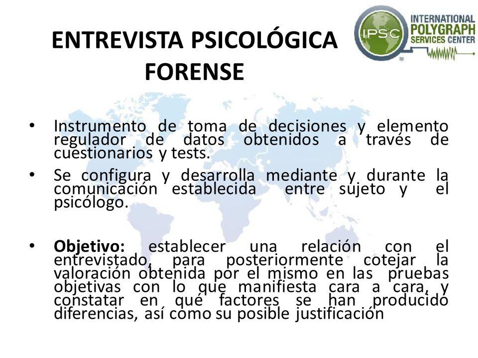 ENTREVISTA PSICOLÓGICA FORENSE Instrumento de toma de decisiones y elemento regulador de datos obtenidos a través de cuestionarios y tests. Se configu