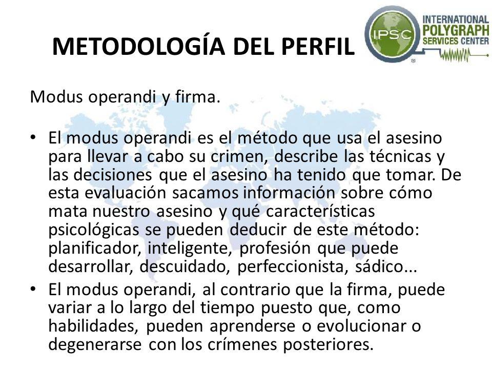 METODOLOGÍA DEL PERFIL El modus operandi tiene naturaleza funcional.