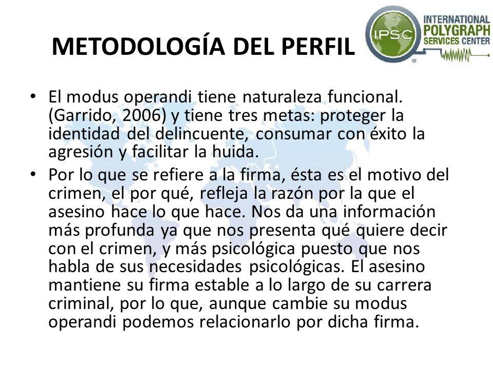 METODOLOGÍA DEL PERFIL El modus operandi tiene naturaleza funcional. (Garrido, 2006) y tiene tres metas: proteger la identidad del delincuente, consum