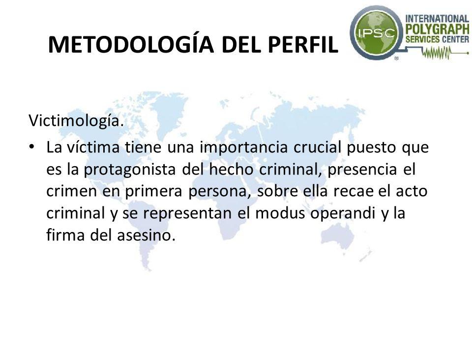 METODOLOGÍA DEL PERFIL Victimología. La víctima tiene una importancia crucial puesto que es la protagonista del hecho criminal, presencia el crimen en