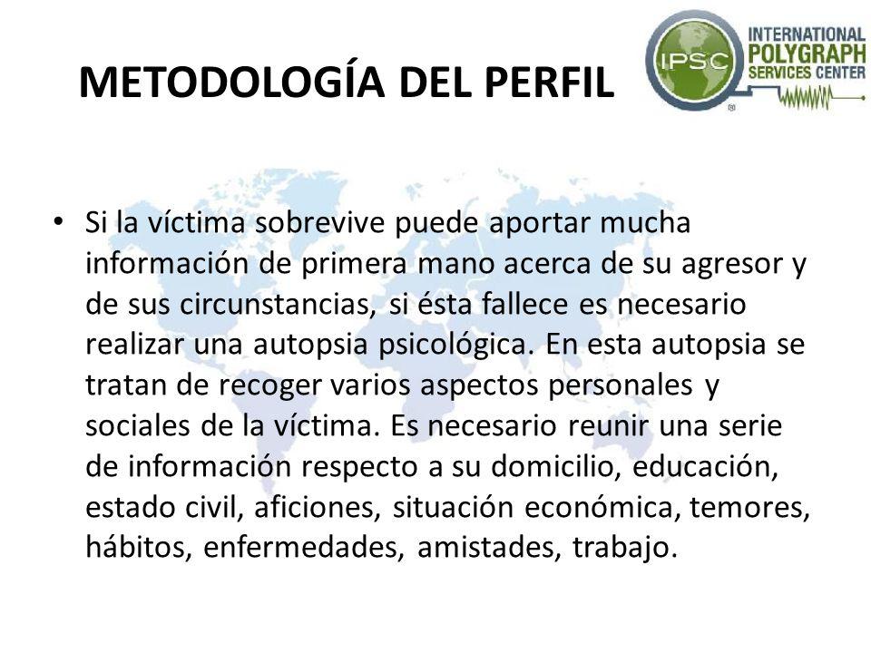 METODOLOGÍA DEL PERFIL Si la víctima sobrevive puede aportar mucha información de primera mano acerca de su agresor y de sus circunstancias, si ésta f