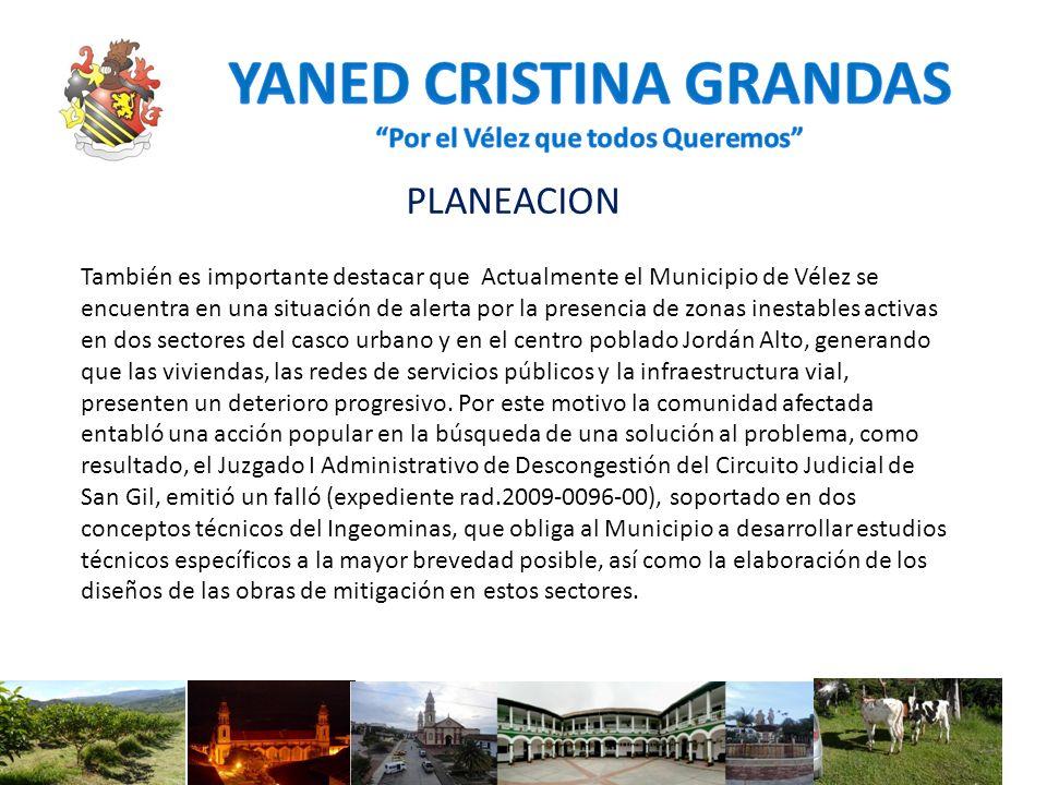 PLANEACION También es importante destacar que Actualmente el Municipio de Vélez se encuentra en una situación de alerta por la presencia de zonas ines