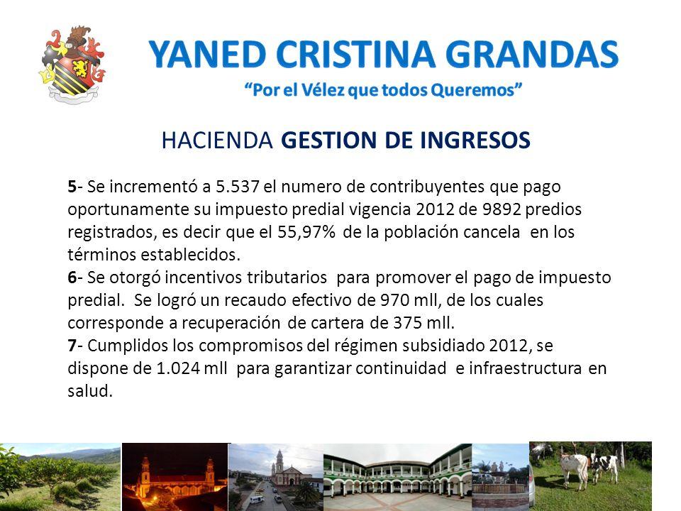 HACIENDA GESTION DE INGRESOS 5- Se incrementó a 5.537 el numero de contribuyentes que pago oportunamente su impuesto predial vigencia 2012 de 9892 pre
