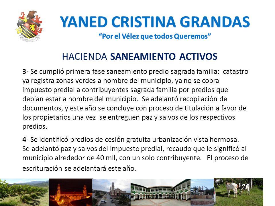 HACIENDA SANEAMIENTO ACTIVOS 3- Se cumplió primera fase saneamiento predio sagrada familia: catastro ya registra zonas verdes a nombre del municipio,