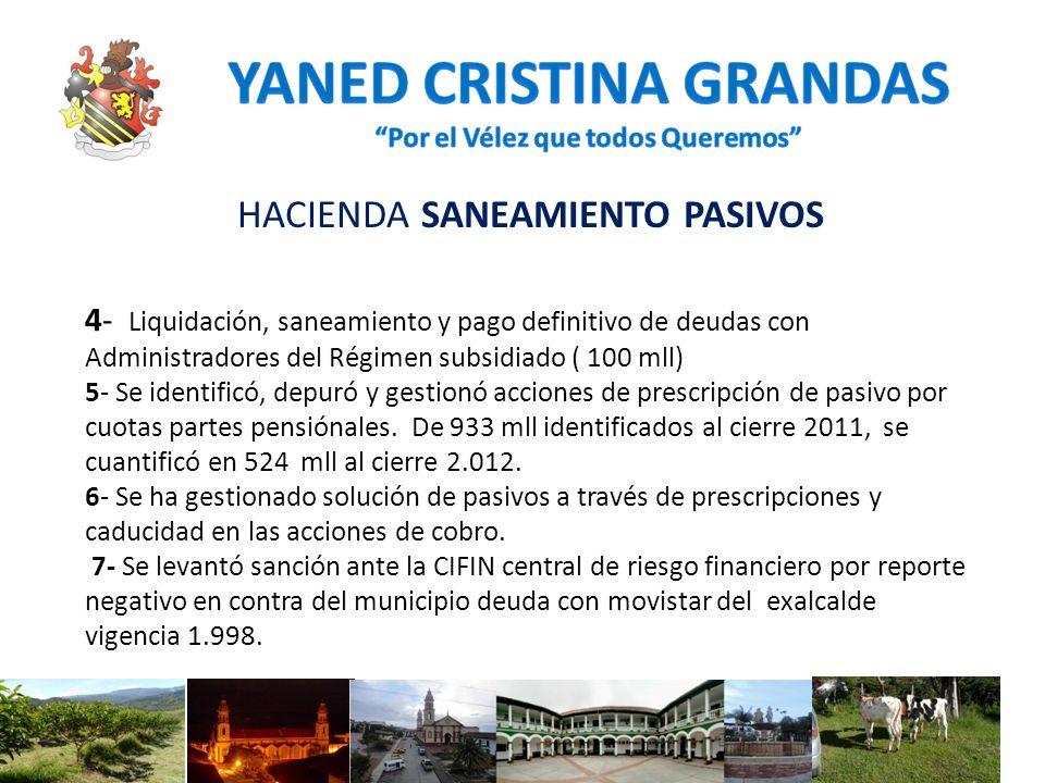 HACIENDA SANEAMIENTO PASIVOS 4- Liquidación, saneamiento y pago definitivo de deudas con Administradores del Régimen subsidiado ( 100 mll) 5- Se ident