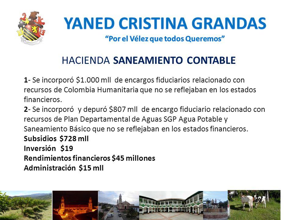 HACIENDA SANEAMIENTO CONTABLE 1- Se incorporó $1.000 mll de encargos fiduciarios relacionado con recursos de Colombia Humanitaria que no se reflejaban