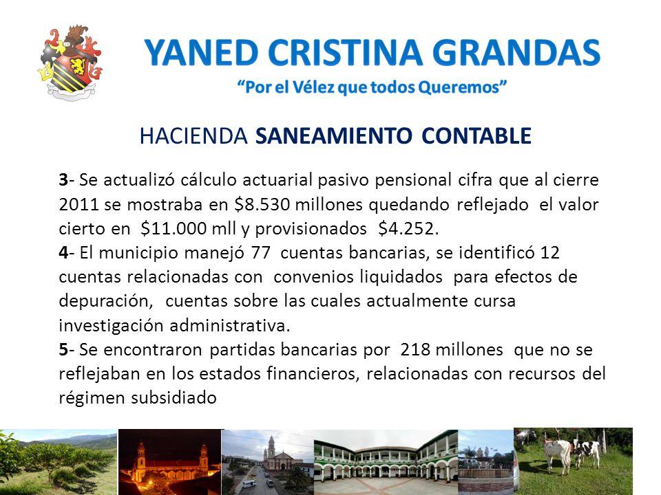 HACIENDA SANEAMIENTO CONTABLE 3- Se actualizó cálculo actuarial pasivo pensional cifra que al cierre 2011 se mostraba en $8.530 millones quedando refl