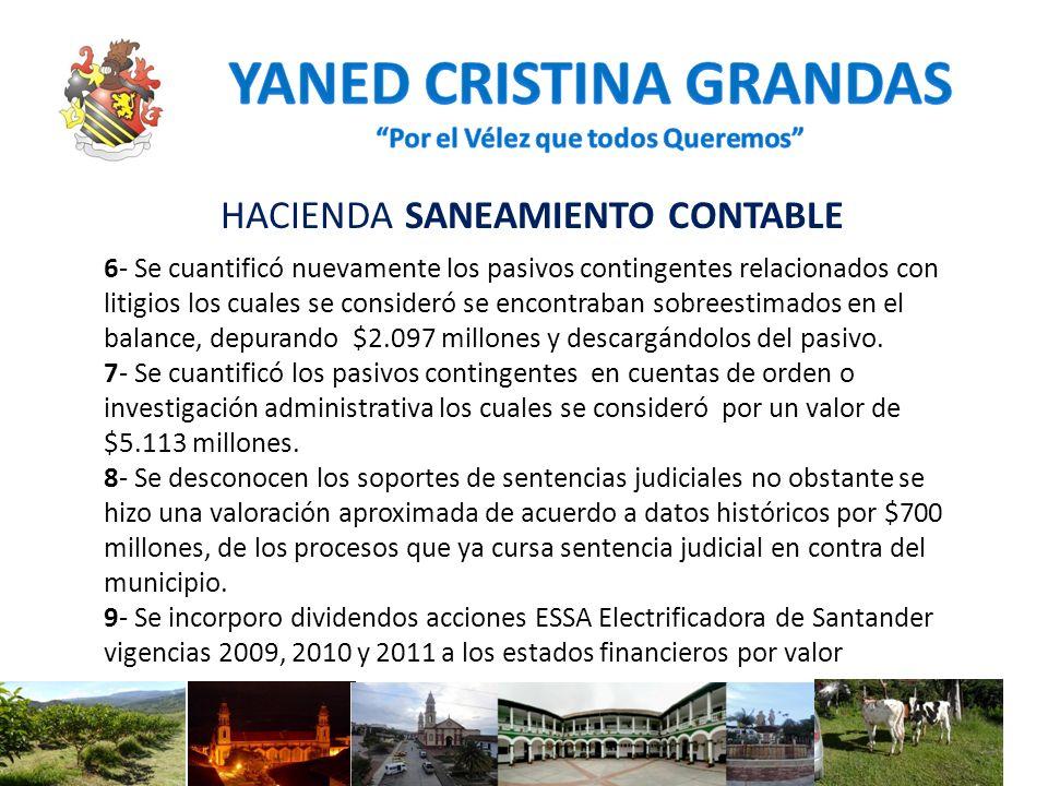 HACIENDA SANEAMIENTO CONTABLE 6- Se cuantificó nuevamente los pasivos contingentes relacionados con litigios los cuales se consideró se encontraban so