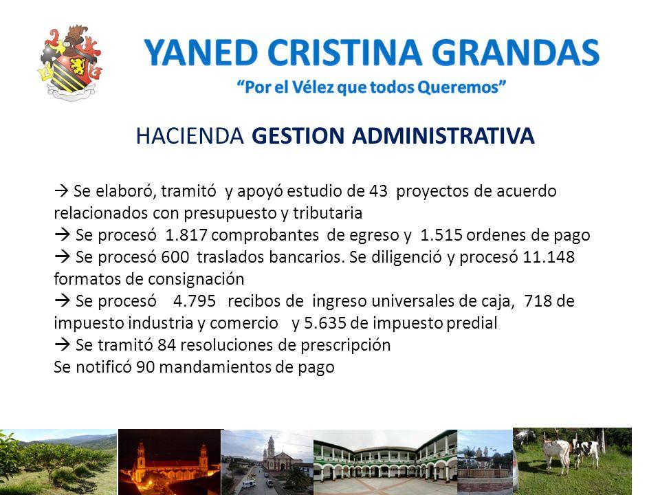 HACIENDA GESTION ADMINISTRATIVA Se elaboró, tramitó y apoyó estudio de 43 proyectos de acuerdo relacionados con presupuesto y tributaria Se procesó 1.