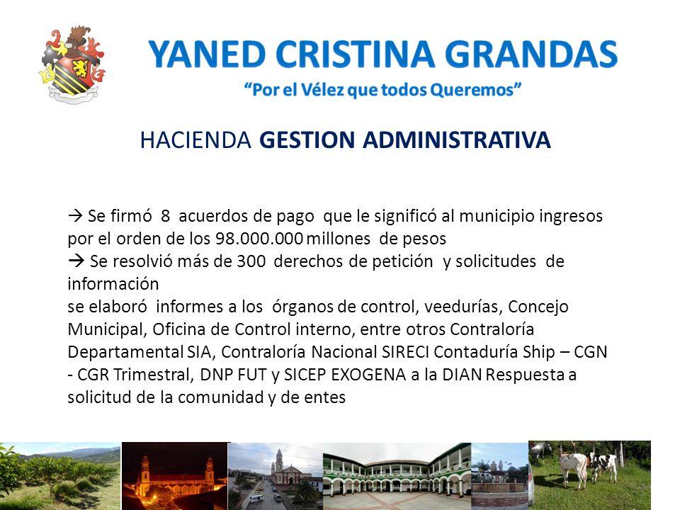 HACIENDA GESTION ADMINISTRATIVA Se firmó 8 acuerdos de pago que le significó al municipio ingresos por el orden de los 98.000.000 millones de pesos Se