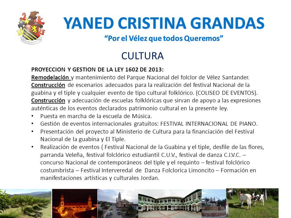 CULTURA PROYECCION Y GESTION DE LA LEY 1602 DE 2013: Remodelación y mantenimiento del Parque Nacional del folclor de Vélez Santander. Construcción de