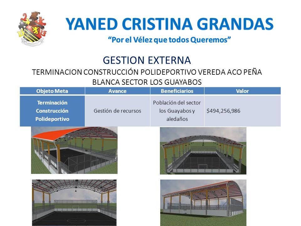 GESTION EXTERNA TERMINACION CONSTRUCCIÓN POLIDEPORTIVO VEREDA ACO PEÑA BLANCA SECTOR LOS GUAYABOS Objeto MetaAvanceBeneficiariosValor Terminación Cons
