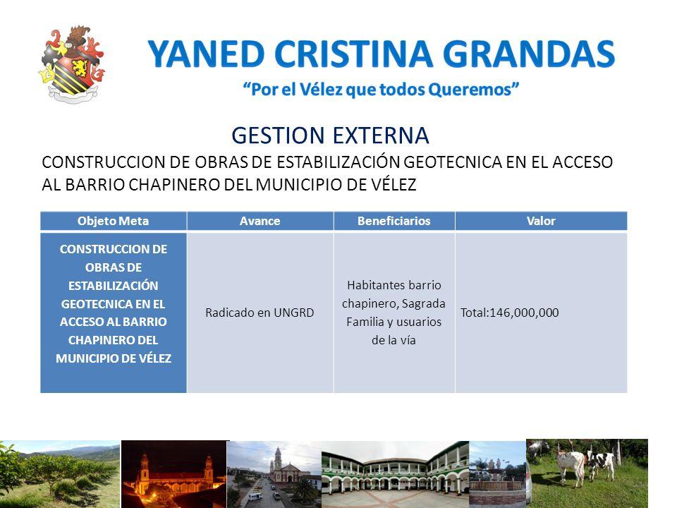 GESTION EXTERNA CONSTRUCCION DE OBRAS DE ESTABILIZACIÓN GEOTECNICA EN EL ACCESO AL BARRIO CHAPINERO DEL MUNICIPIO DE VÉLEZ Objeto MetaAvanceBeneficiar