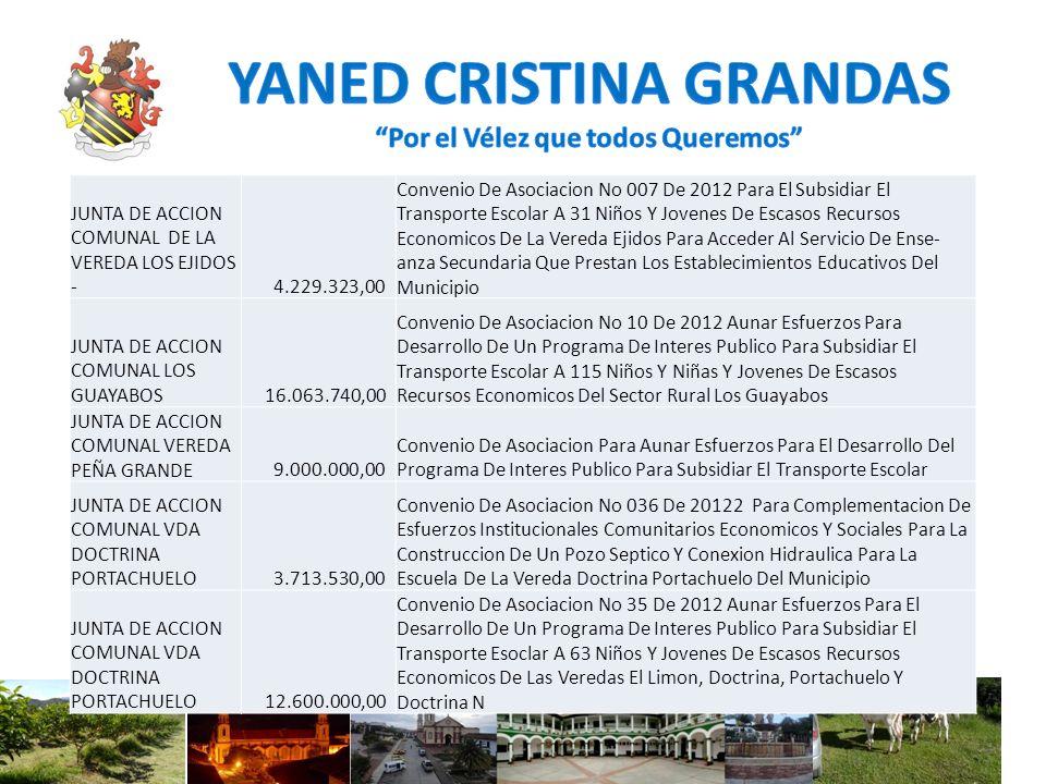 JUNTA DE ACCION COMUNAL DE LA VEREDA LOS EJIDOS - 4.229.323,00 Convenio De Asociacion No 007 De 2012 Para El Subsidiar El Transporte Escolar A 31 Niño