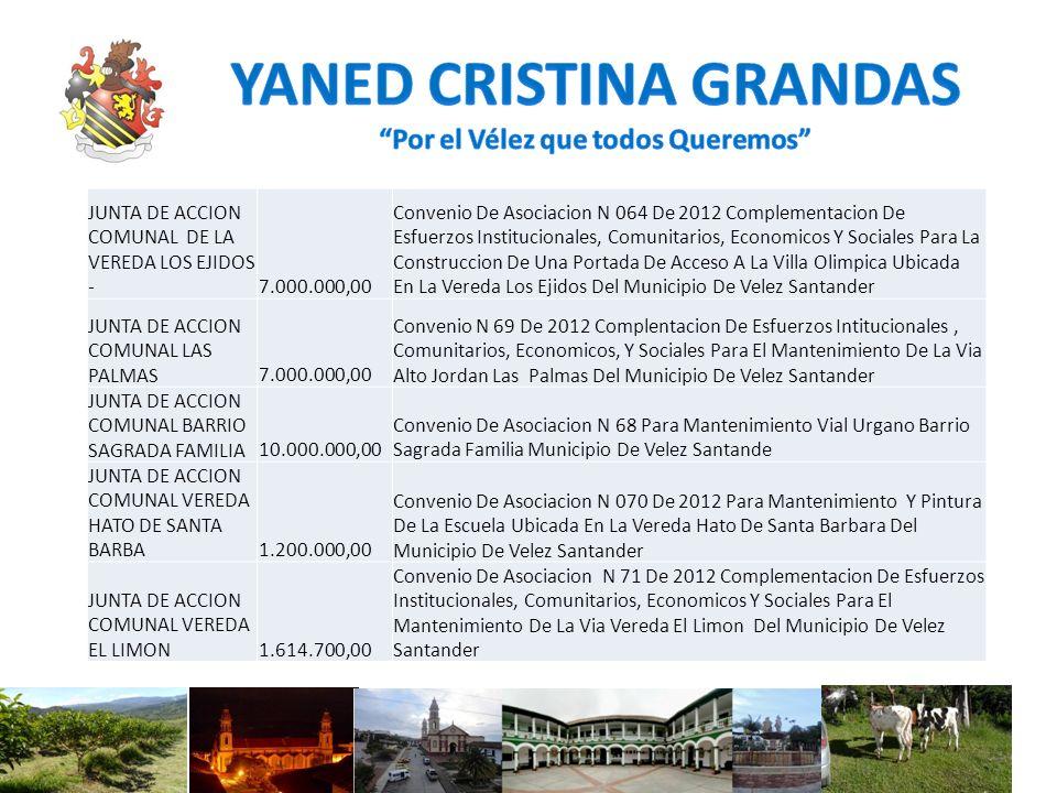 JUNTA DE ACCION COMUNAL DE LA VEREDA LOS EJIDOS - 7.000.000,00 Convenio De Asociacion N 064 De 2012 Complementacion De Esfuerzos Institucionales, Comu