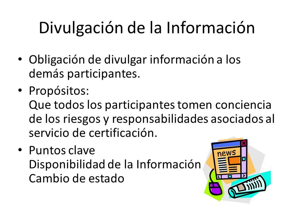 Divulgación de la Información Obligación de divulgar información a los demás participantes.