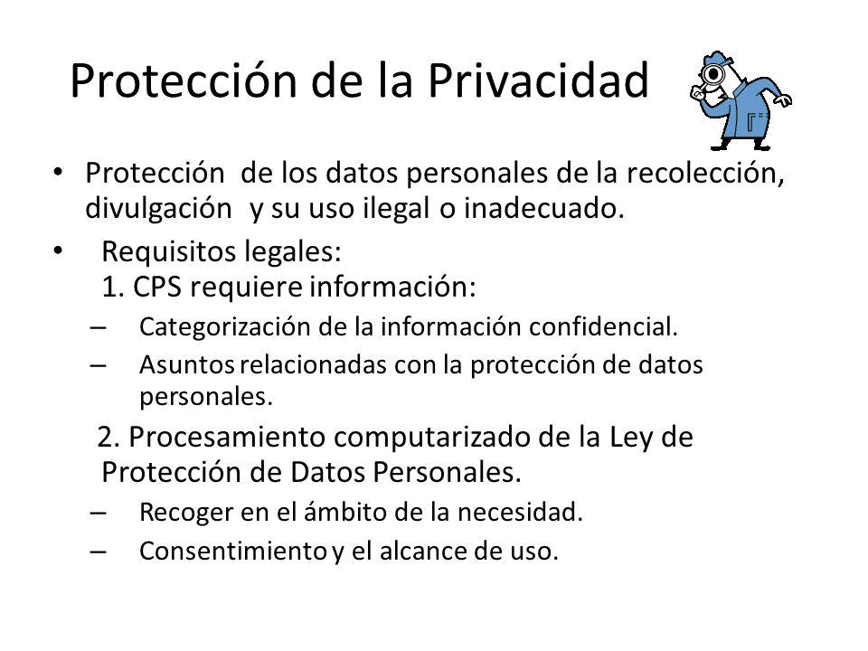 Protección de la Privacidad Protección de los datos personales de la recolección, divulgación y su uso ilegal o inadecuado.