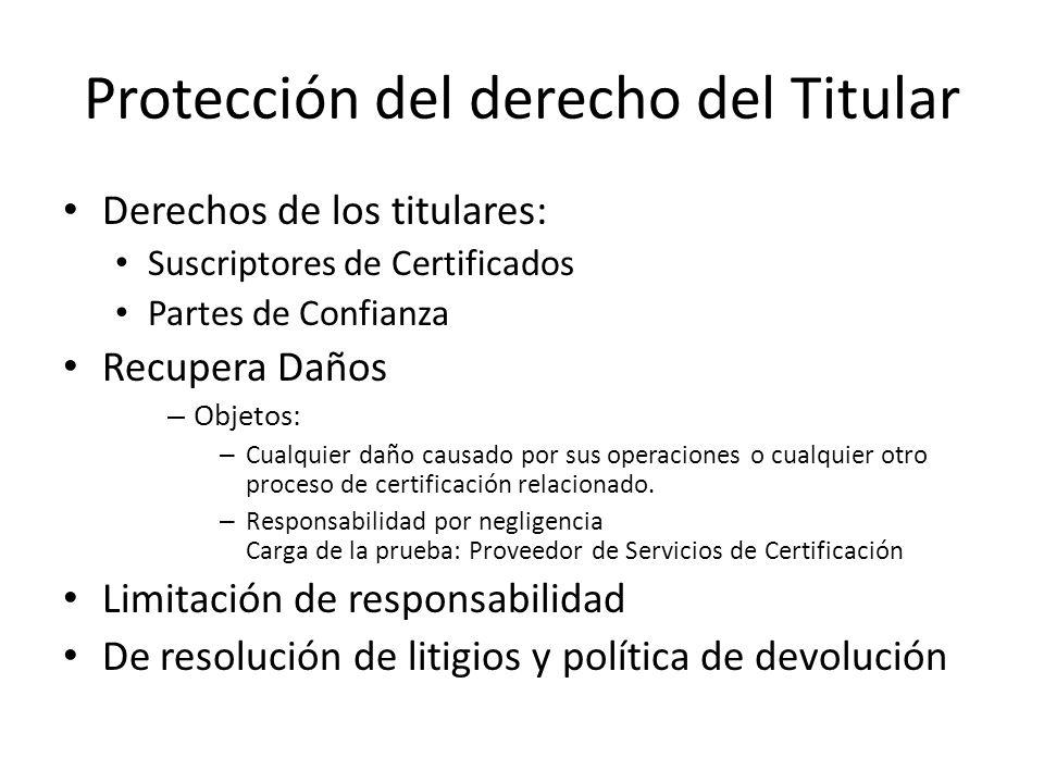 Protección del derecho del Titular Derechos de los titulares: Suscriptores de Certificados Partes de Confianza Recupera Daños – Objetos: – Cualquier daño causado por sus operaciones o cualquier otro proceso de certificación relacionado.