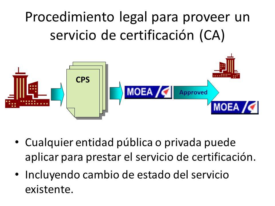 Procedimiento legal para proveer un servicio de certificación (CA) CPS Approved Cualquier entidad pública o privada puede aplicar para prestar el servicio de certificación.