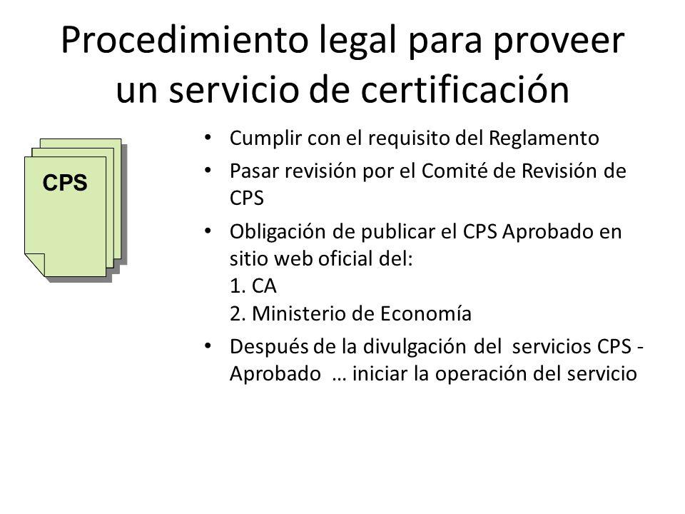 Procedimiento legal para proveer un servicio de certificación Cumplir con el requisito del Reglamento Pasar revisión por el Comité de Revisión de CPS Obligación de publicar el CPS Aprobado en sitio web oficial del: 1.
