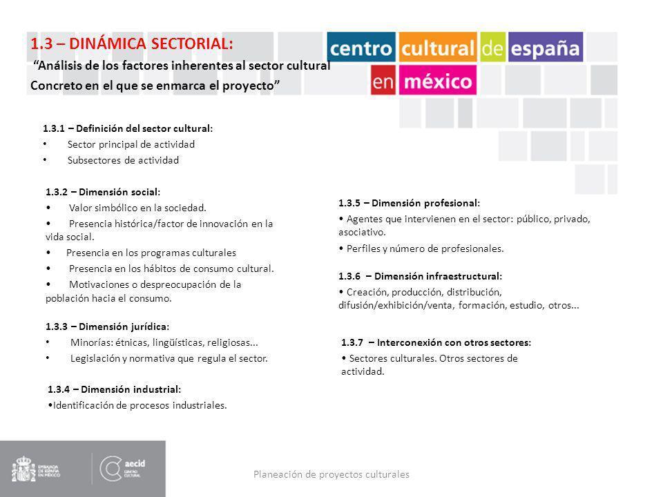 Planeación de proyectos culturales 1.3.1 – Definición del sector cultural: Sector principal de actividad Subsectores de actividad 1.3.2 – Dimensión so