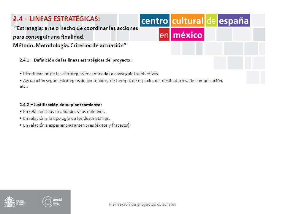 Planeación de proyectos culturales 2.4.1 – Definición de las líneas estratégicas del proyecto: Identificación de las estrategias encaminadas a consegu