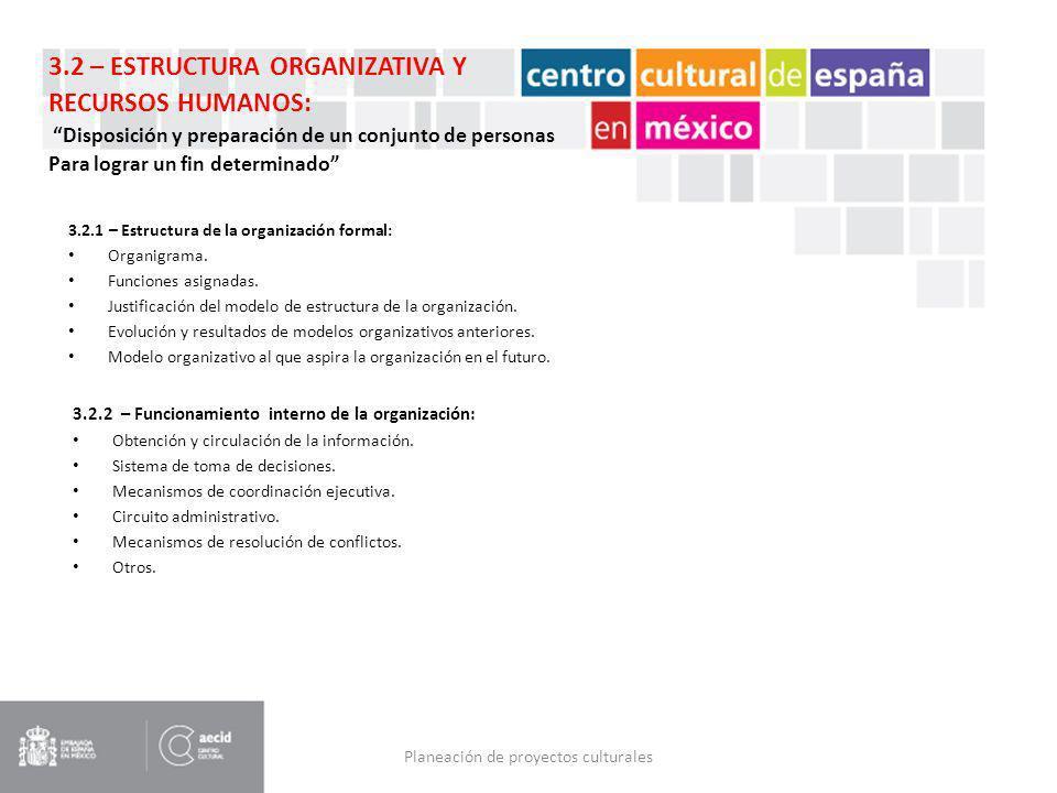 Planeación de proyectos culturales 3.2.1 – Estructura de la organización formal: Organigrama. Funciones asignadas. Justificación del modelo de estruct