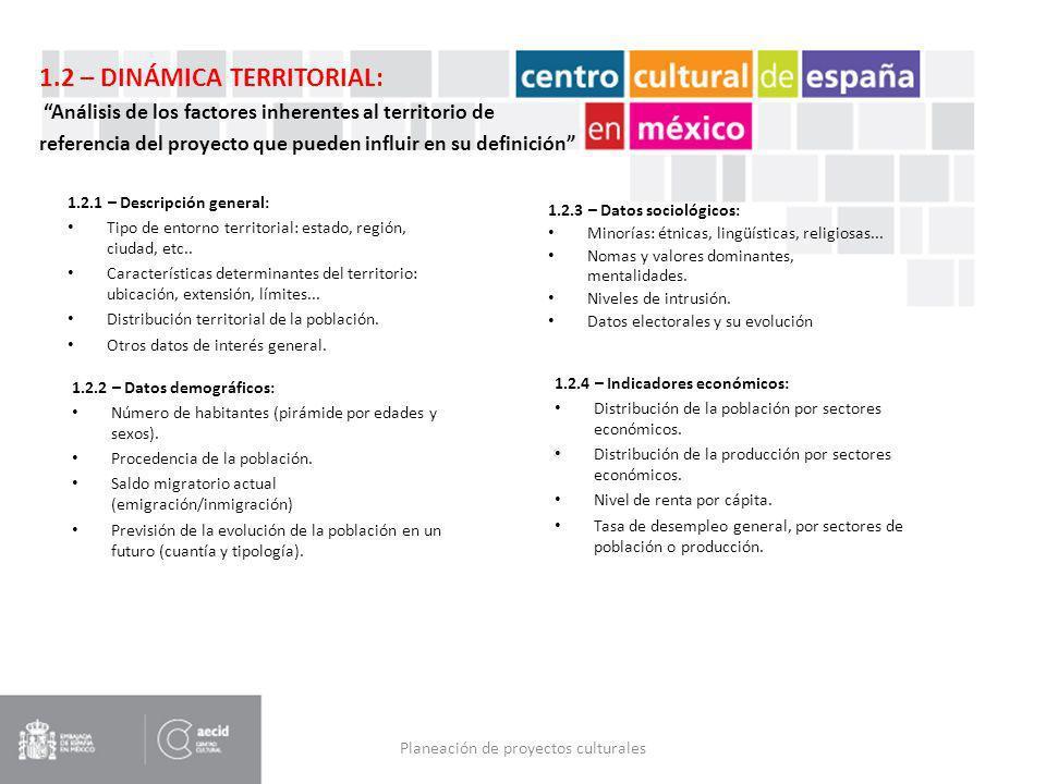 Planeación de proyectos culturales 1.2.1 – Descripción general: Tipo de entorno territorial: estado, región, ciudad, etc.. Características determinant