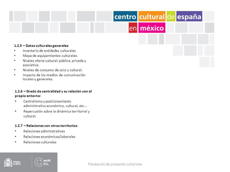 Planeación de proyectos culturales 1.2.5 – Datos culturales generales: Inventario de entidades culturales Mapa de equipamientos culturales. Niveles of