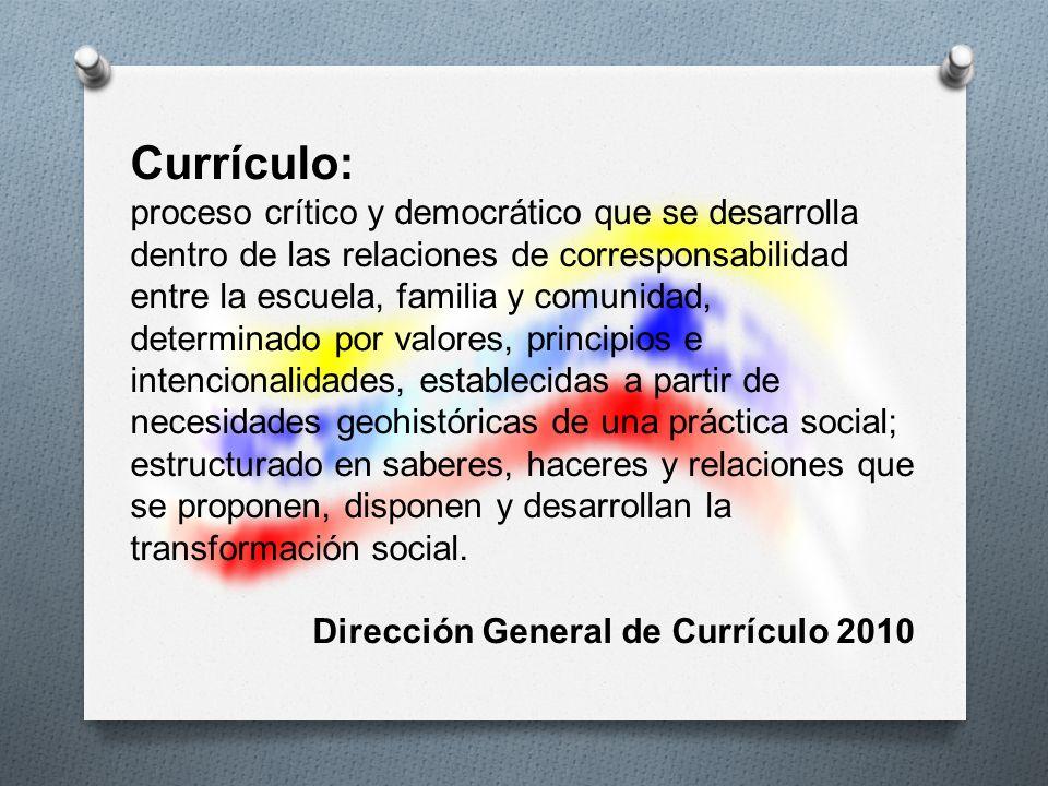 Currículo: proceso crítico y democrático que se desarrolla dentro de las relaciones de corresponsabilidad entre la escuela, familia y comunidad, deter