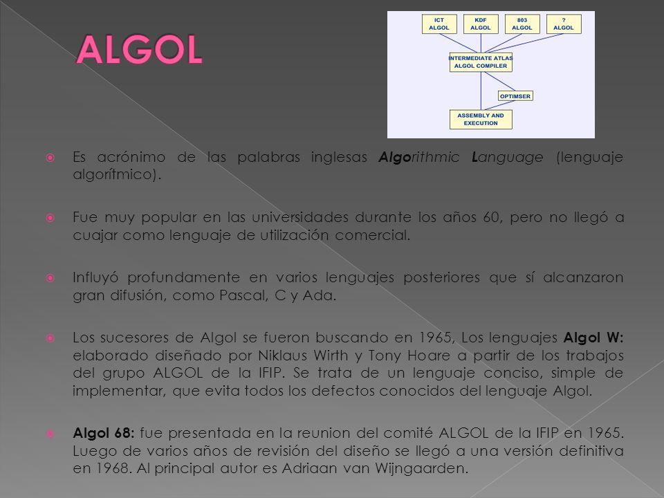 Es acrónimo de las palabras inglesas Algo rithmic L anguage (lenguaje algorítmico). Fue muy popular en las universidades durante los años 60, pero no