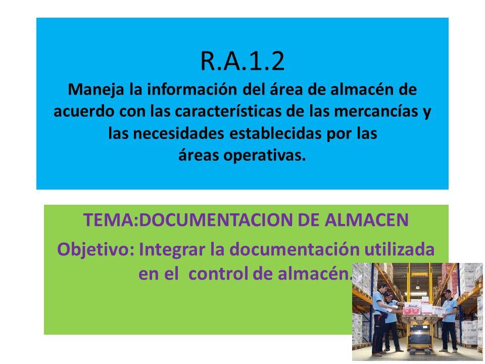 R.A.1.2 Maneja la información del área de almacén de acuerdo con las características de las mercancías y las necesidades establecidas por las áreas op