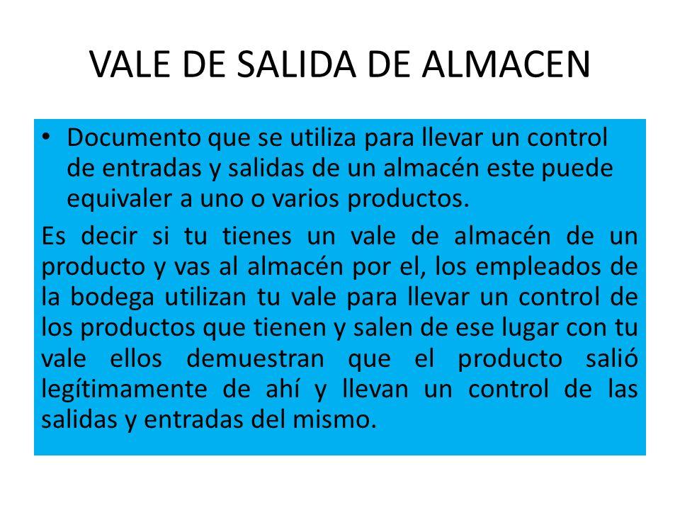 VALES DE SALIDA