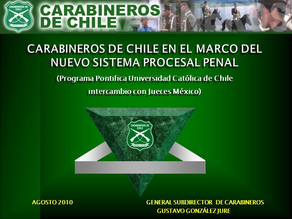 Su misión, está determinada en la Constitución Política de la República, y expresa que Carabineros de Chile existe para dar eficacia al derecho y su finalidad es la de mantener el Orden Público y la Seguridad Pública interior en todo el territorio de la República.