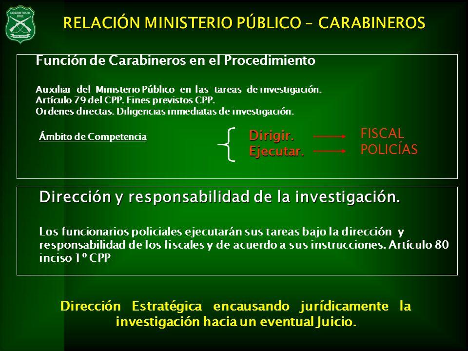 Función de Carabineros en el Procedimiento Auxiliar del Ministerio Público en las tareas de investigación. Artículo 79 del CPP. Fines previstos CPP. O