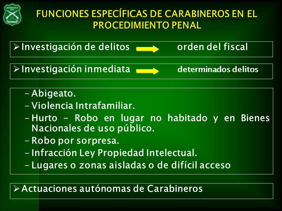 Investigación de delitos orden del fiscal FUNCIONES ESPECÍFICAS DE CARABINEROS EN EL PROCEDIMIENTO PENAL Actuaciones autónomas de Carabineros -Abigeat