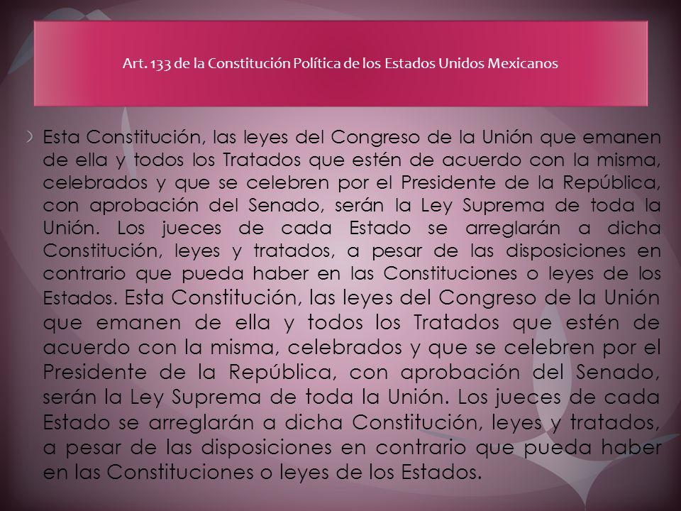 Esta Constitución, las leyes del Congreso de la Unión que emanen de ella y todos los Tratados que estén de acuerdo con la misma, celebrados y que se c