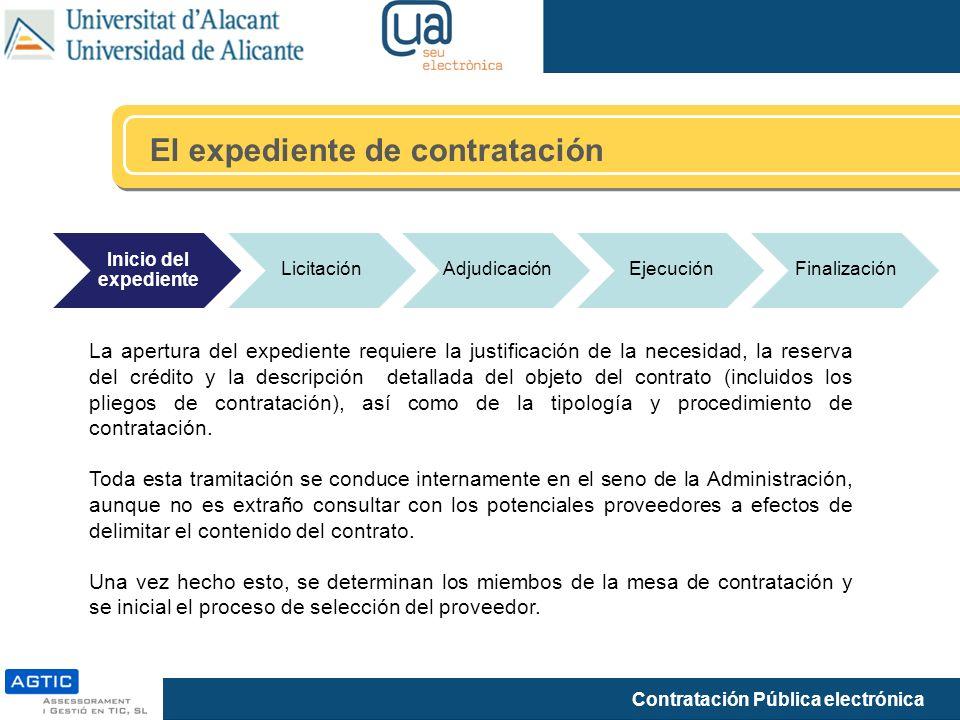 Contratación Pública electrónica El expediente de contratación Inicio del expediente LicitaciónAdjudicaciónEjecuciónFinalización La apertura del exped