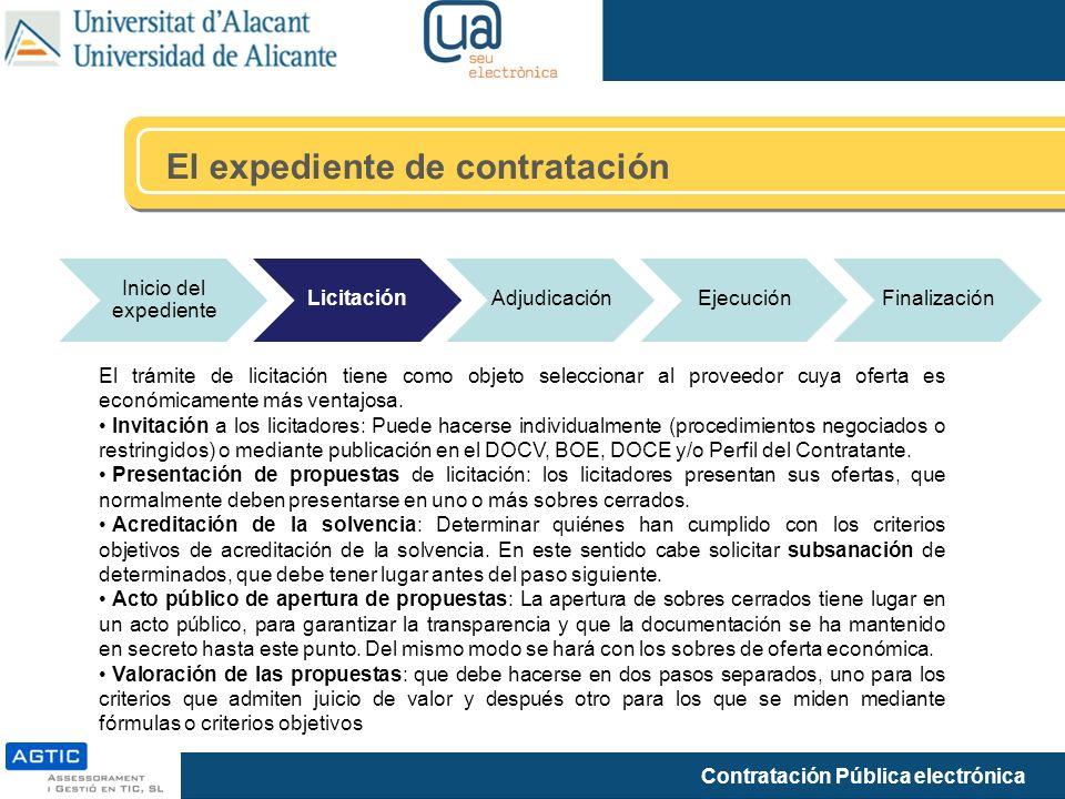 Contratación Pública electrónica El expediente de contratación Inicio del expediente LicitaciónAdjudicaciónEjecuciónFinalización El trámite de licitac