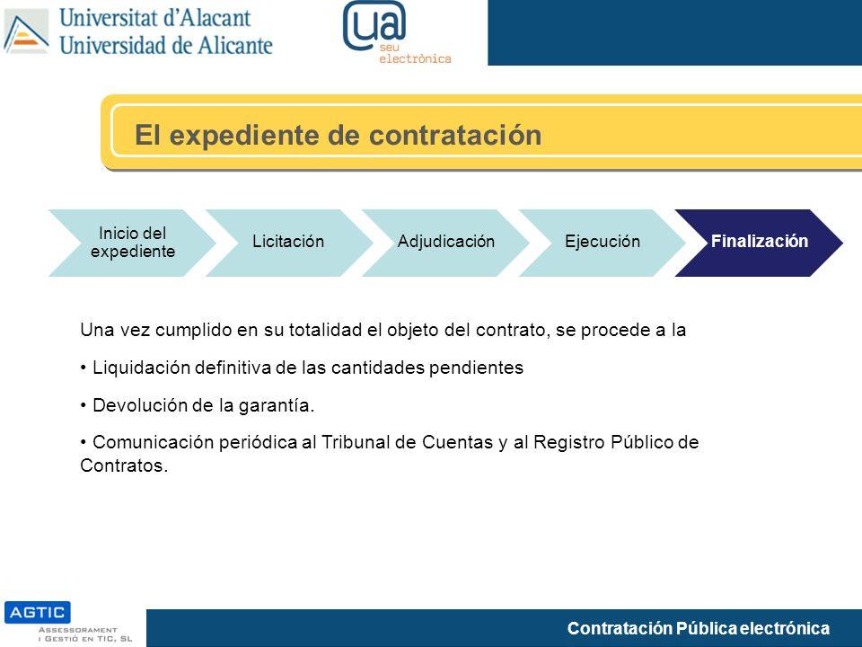 Contratación Pública electrónica El expediente de contratación Inicio del expediente LicitaciónAdjudicaciónEjecuciónFinalización Una vez cumplido en s