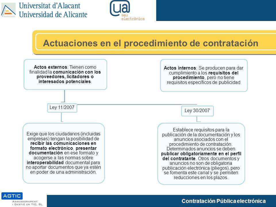 Contratación Pública electrónica Actuaciones en el procedimiento de contratación Actos externos: Tienen como finalidad la comunicación con los proveed