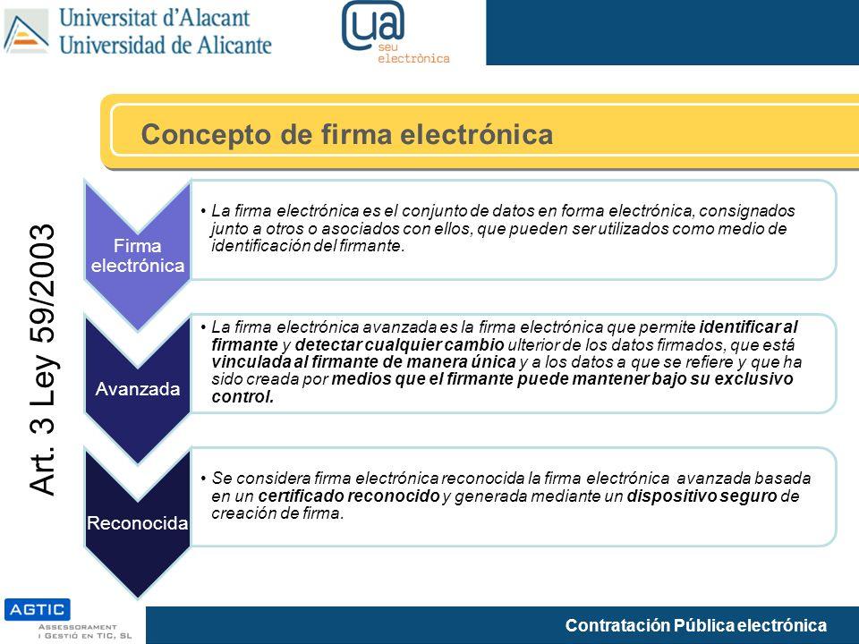 Contratación Pública electrónica Concepto de firma electrónica Firma electrónica La firma electrónica es el conjunto de datos en forma electrónica, co