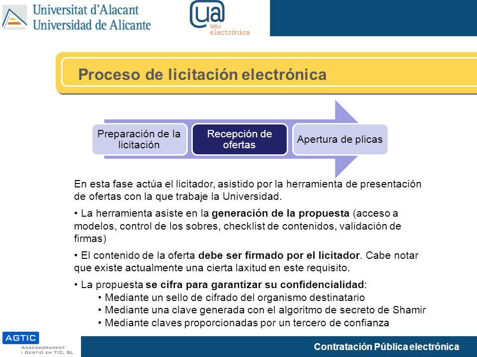 Contratación Pública electrónica Proceso de licitación electrónica Preparación de la licitación Recepción de ofertas Apertura de plicas En esta fase actúa el licitador, asistido por la herramienta de presentación de ofertas con la que trabaje la Universidad.