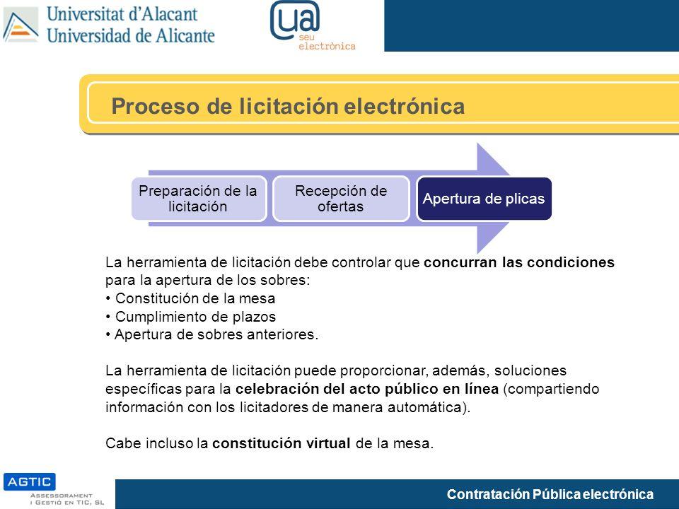 Contratación Pública electrónica Proceso de licitación electrónica Preparación de la licitación Recepción de ofertas Apertura de plicas La herramienta