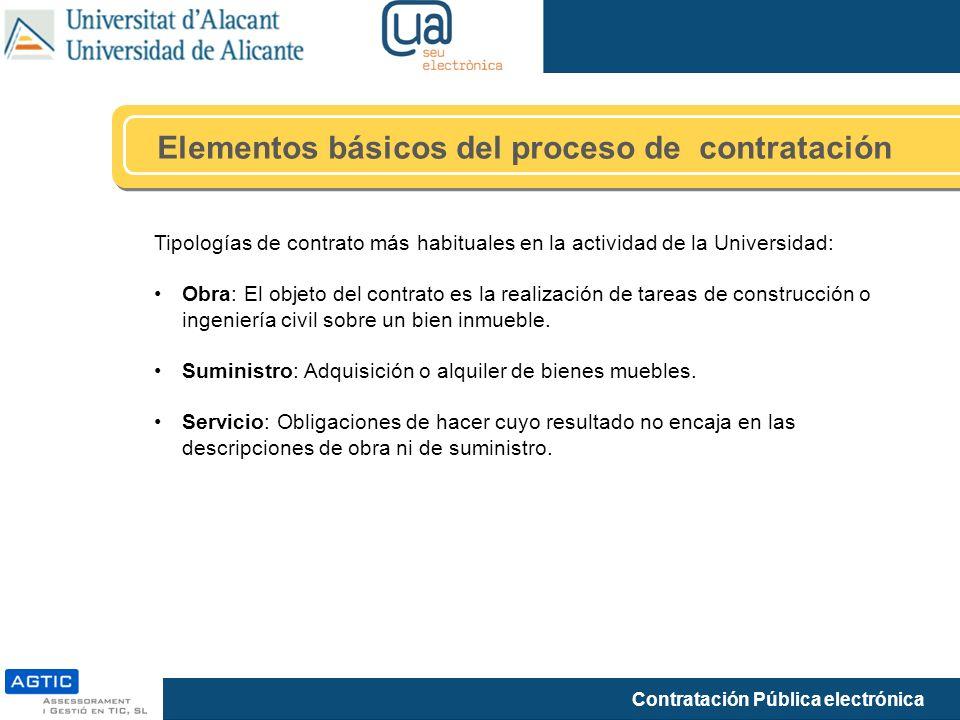 Contratación Pública electrónica Elementos básicos del proceso de contratación Tipologías de contrato más habituales en la actividad de la Universidad: Obra: El objeto del contrato es la realización de tareas de construcción o ingeniería civil sobre un bien inmueble.