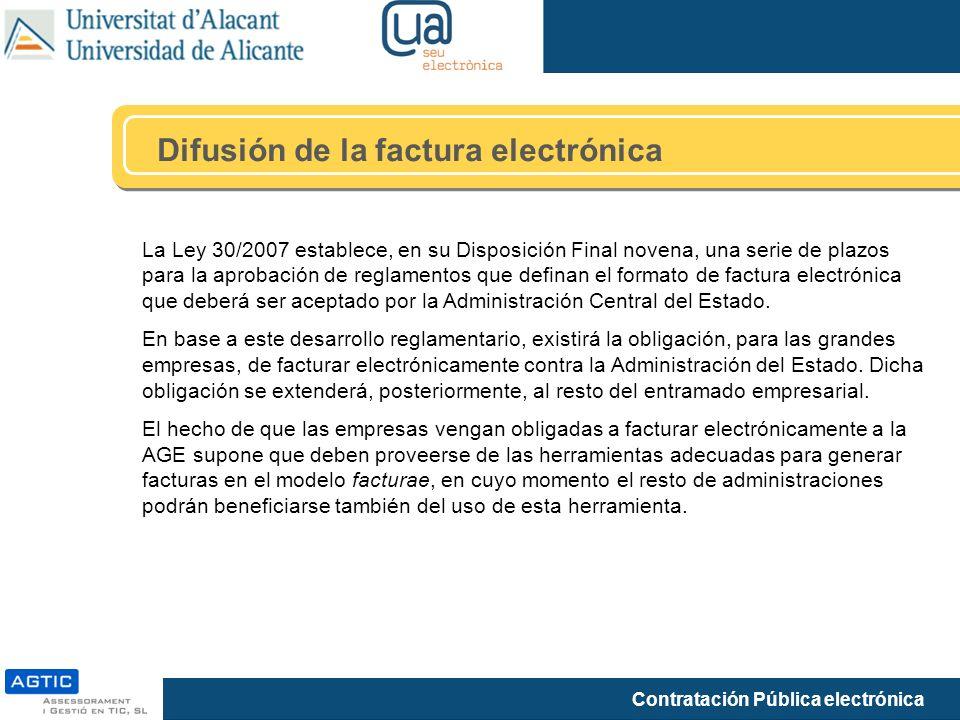 Contratación Pública electrónica La Ley 30/2007 establece, en su Disposición Final novena, una serie de plazos para la aprobación de reglamentos que d