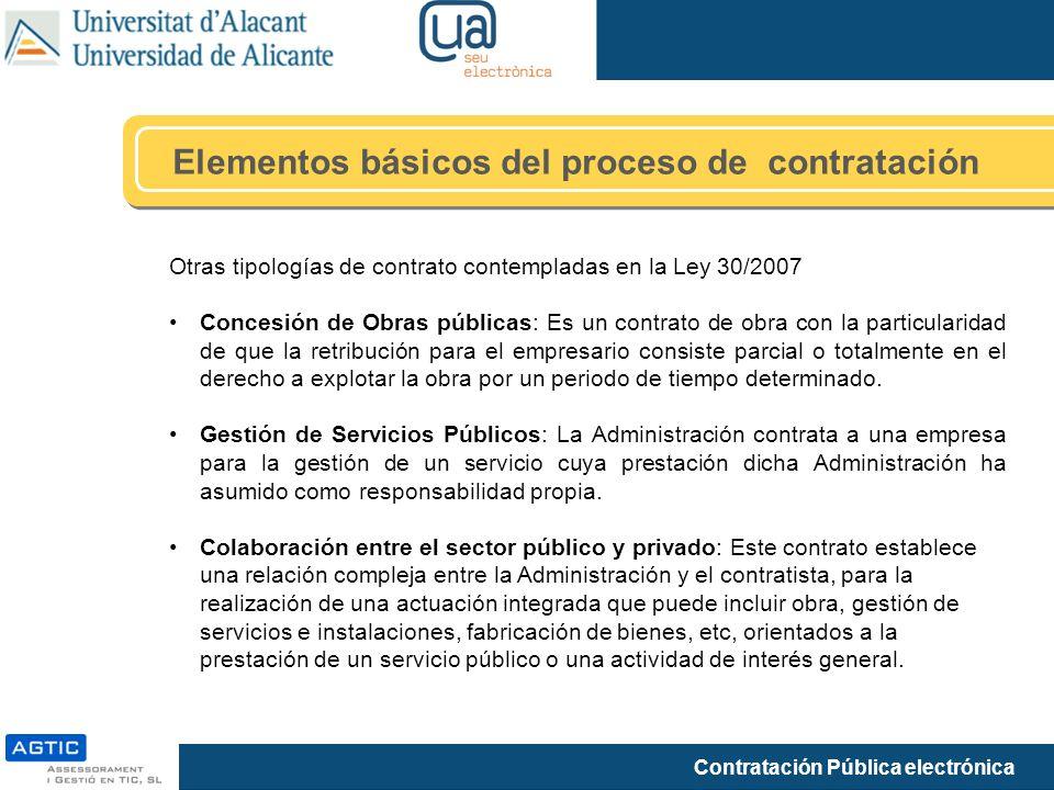 Contratación Pública electrónica Elementos básicos del proceso de contratación Otras tipologías de contrato contempladas en la Ley 30/2007 Concesión d