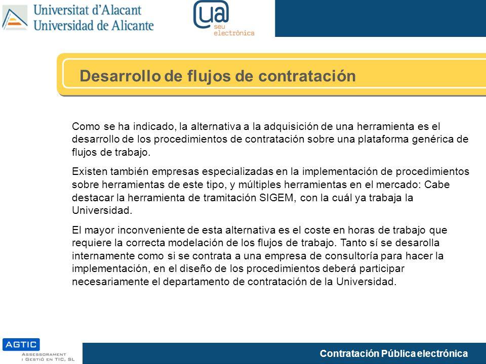 Contratación Pública electrónica Desarrollo de flujos de contratación Como se ha indicado, la alternativa a la adquisición de una herramienta es el de