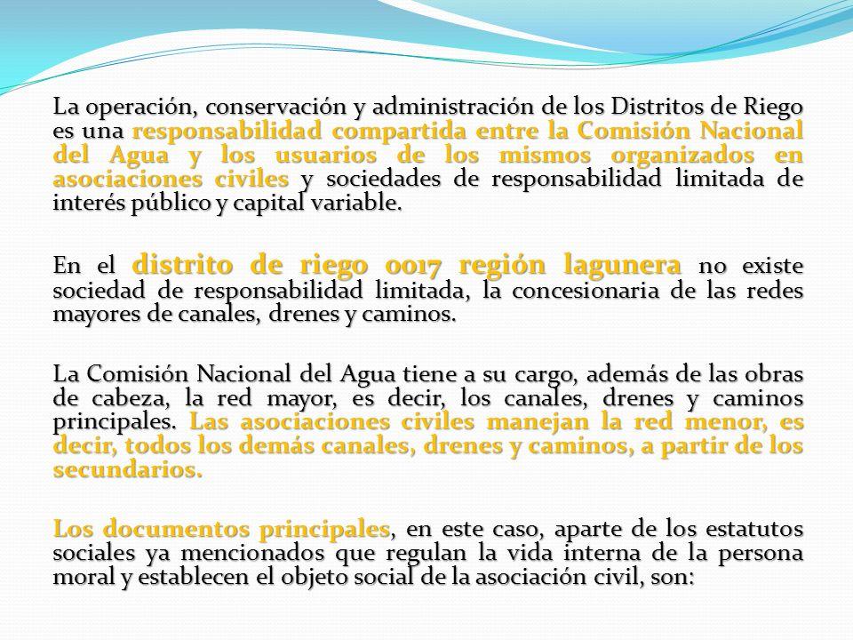 La operación, conservación y administración de los Distritos de Riego es una responsabilidad compartida entre la Comisión Nacional del Agua y los usua